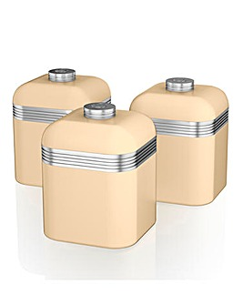 Swan Retro Set of 3 Canisters Cream