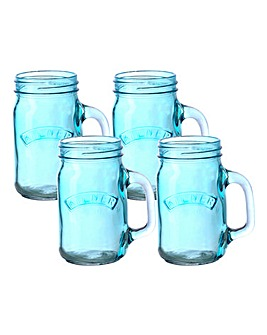 Kilner Set of 4 Handled Jars Blue