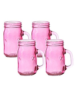 Kilner Set of 4 Handled Jars Pink