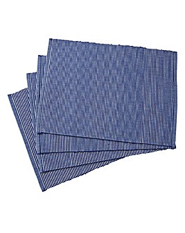 Ribbed Blue Set of 4 Place Mats