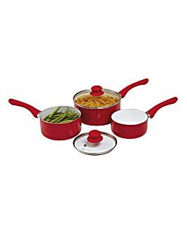 Set of 3 Ceramic Pans Red
