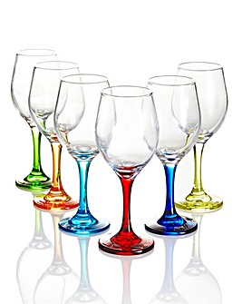 6-Piece Coloured Stem Wine Glasses