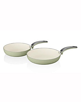 Swan Retro Ceramic Frying Pans Pack of 2