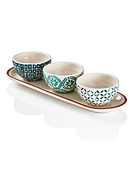 Jantar Terracotta 3 Dip Bowls with Tray