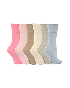6 Pair Gentle Grip Plain Socks