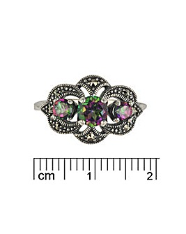 Sterling Silver Mystic Topaz & Marc Ring