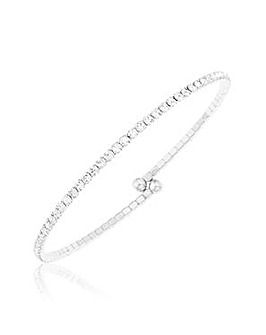 Crystal Glitz Silver Plated Flex Bangle