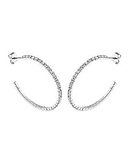 Crystal Glitz Silver Plated J Hoops