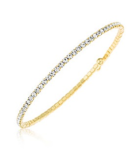 Crystal Glitz Gold Plated Flex Bangle