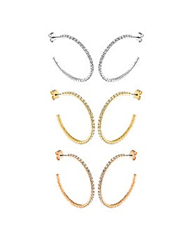 Crystal Glitz set of 3 Pairs J Hoops