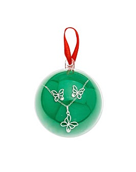 Silver Butterfly Set in Bauble