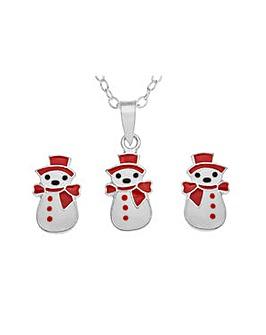 Silver Snowman Pendant Set