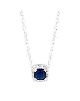 Simply Silver Square Halo Necklace