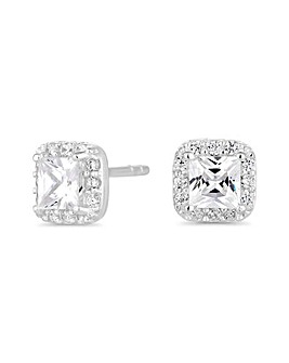 Simply Silver Square Halo Earring