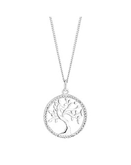 Simply Silver Pave Tree Of Life Necklace