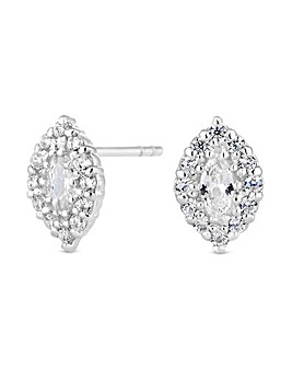 Simply Silver Marquise Halo Earring