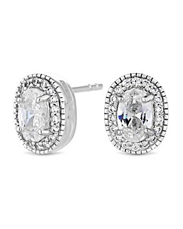 Simply Silver Oval Halo Stud Earring