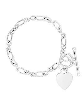Simply Silver Heart T Bar Bracelet