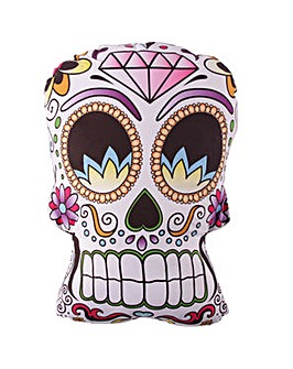 Skull Shaped Day of the Dead Cushion