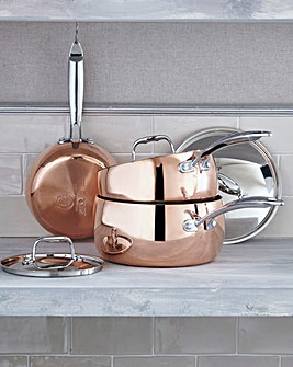 Copper Tri-Ply 3-Piece Saucepan Set