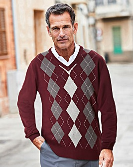 Premier Man Wine Argyle Jumper R