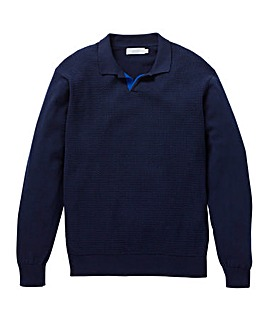 W&B Navy Knitted Polo R