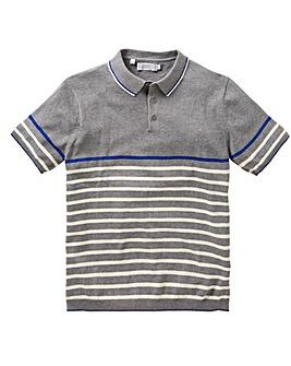 W&B Grey Stripe Knitted Polo R