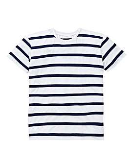 W&B Navy/White Linen Mix T-Shirt R
