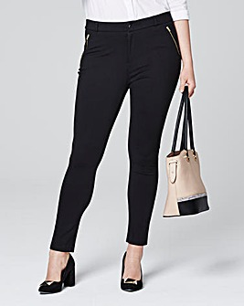 Zip Trim Ponte Tregging Trousers Regular