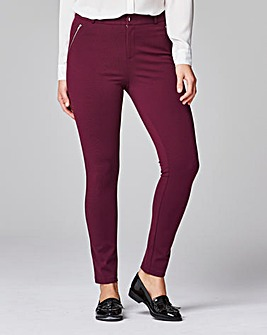 Zip Trim Ponte Tregging Trousers Regular