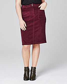 Cord Knee Length Pencil Skirt