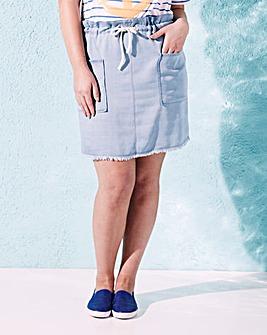 Short Rope Belt Soft Denim Skirt