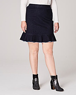 Denim Frilled Hem Skirt