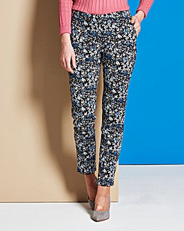 Cotton Satten Print Ankle Grazer Trouser