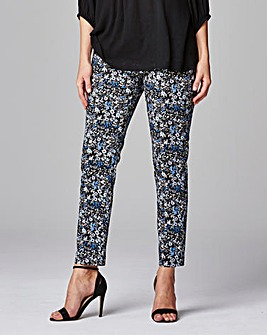 Cotton Satten Print Ankle Grazer Trouser