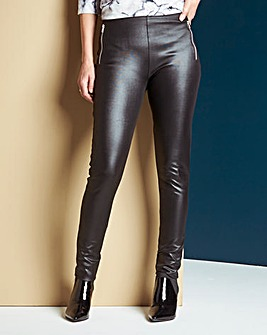 Wet Look Zip Trim Leggings