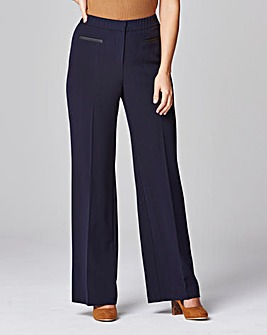 Magisculpt PU Trim Wide Leg Trouser Long