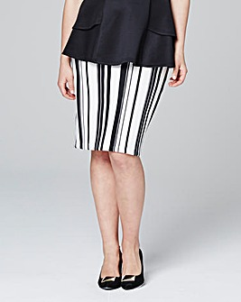 Stripe Scuba Pencil Skirt