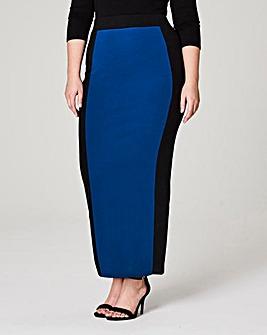 Colour Block Jersey Tube Maxi Skirt