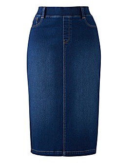 Pull-on Stretch Denim Tube Skirt