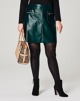 PU Zip Trim Pocket Mini Skirt