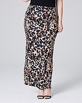 Leopard Print Jersey Maxi Skirt