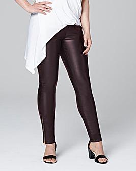Burgundy PU Zip Hem Trousers