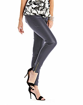 Grey PU Zip Hem Trousers