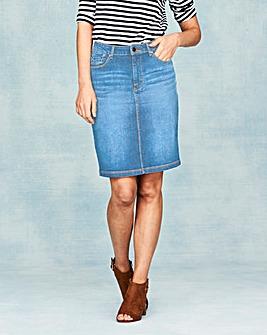 Denim Knee Length Skirt
