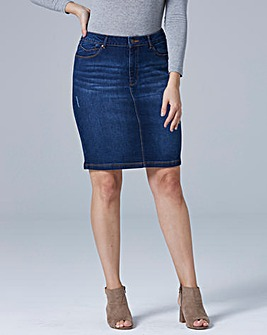 Sadie Stretch Denim Knee Length Skirt | Simply Be