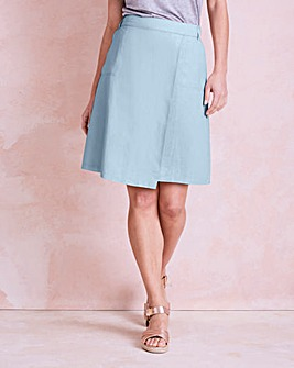 Linen Mix Knee Length Asymmetric Skirt