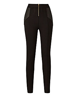 Zip Front Quilt Panel Ponte Leggings