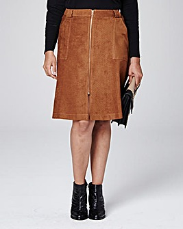 Suedette Punched Split Front Zip Skirt