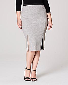 Double Split Jersey Midi Pencil Skirt